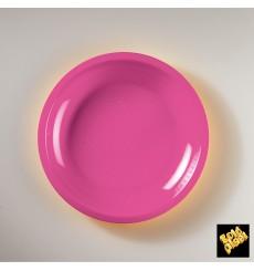 Plato de Plastico Llano Fucsia Round PP Ø220mm (50 Uds)