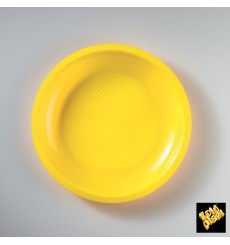 Plato de Plastico Llano Amarillo Ø220mm (300 Uds)