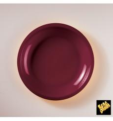 Plato de Plastico Llano Burdeos Round PP Ø220mm (600 Uds)