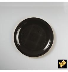 Plato de Plastico Llano Negro Round PP Ø185mm (50 Uds)