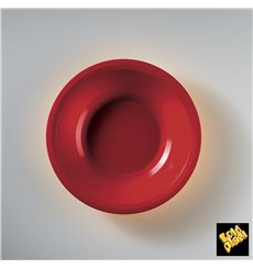 Plato de Plastico Hondo Rojo Round PP Ø195mm (50 Uds)