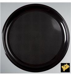Plato de Plastico para Pizza Negro Round PP Ø350mm (12 Uds)