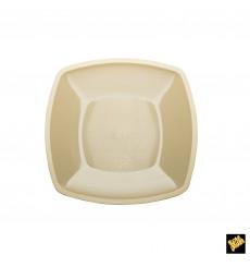 Plato de Plastico Llano Crema Square PP 230mm (25 Uds)