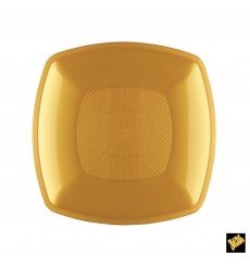 Plato de Plastico Llano Oro Square PP 180mm (12 Uds)