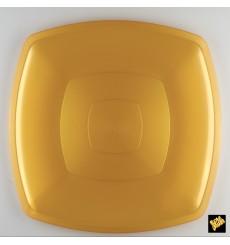 Plato de Plastico Llano Oro Square PS 300mm (12 Uds)