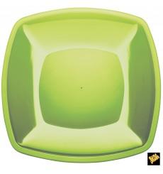 Plato de Plastico Llano Verde Lima Square PS 300mm (12 Uds)