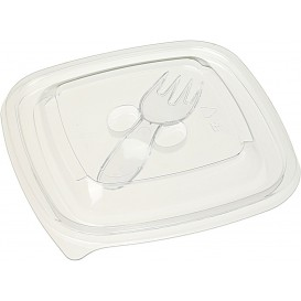 Tapa Plástico para Bol con Tenedor PET 125x125mm (50 Uds)
