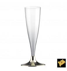Copa Plastico Cava Pie Oro Cromado 140ml 2P (20 Uds)