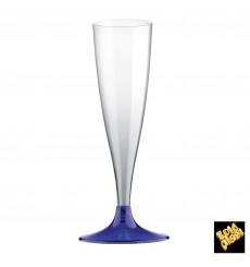 Copa Plastico Cava Pie Azul Transp. 140ml 2P (20 Uds)