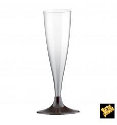 Copa Plastico Cava Pie Marron 140ml 2P (20 Uds)