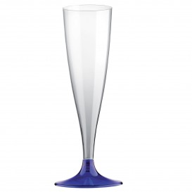 Copa de Plastico Cava con Pie Azul 140ml (200 Uds)