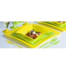 Plato de Plastico Hondo Amarillo Nice PP 180mm (25 Uds)