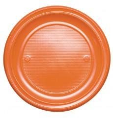 Plato de Plastico Llano Naranja PS 220 mm (30 Uds)