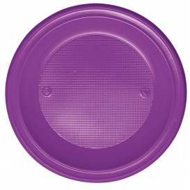 Plato de Plastico PS Hondo Violeta Ø220mm (30 Uds)