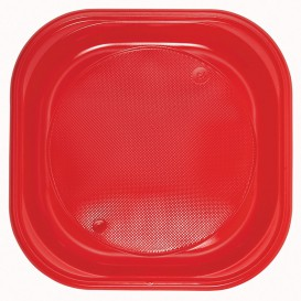 Plato de Plastico PS Cuadrado Rojo 200x200mm (50 Uds)
