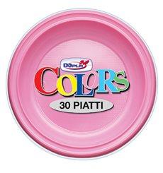 Plato de Plastico PS Hondo Rosa Ø220mm (600 Uds)