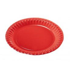 Plato de Carton Redondo Rojo 180mm (10 Uds)