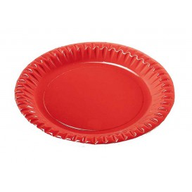 "Plato de Carton Redondo ""Party"" Rojo 230mm (10 Uds)"