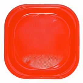 Plato de Plastico PS Cuadrado Naranja 200x200mm (30 Uds)