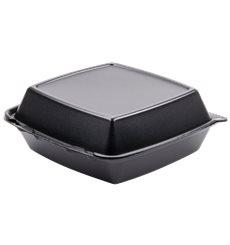 Envase Foam Mediano Tapa Removible Negro 210x200mm (100 Uds)