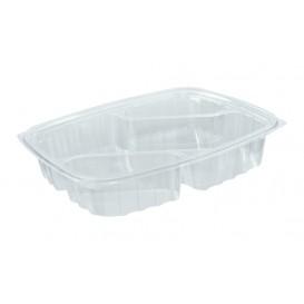 """Envase de Plastico PS """"Clear Pac"""" 3 C. Diagonal Transp. 887ml (63 Uds)"""