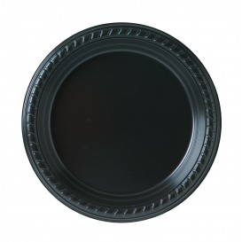 Plato de Plastico Party PS Llano Negro Ø180mm (25 Uds)