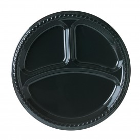 Plato de Plastico Party PS Llano Negro 3C Ø260mm (25 Uds)