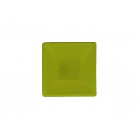 Bol de Plastico Cuadrado Pistacho 120x120x40mm (12 Uds)