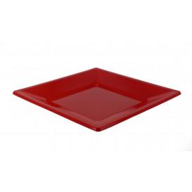 Plato de Plastico Llano Cuadrado Rojo 230mm (3 Uds)