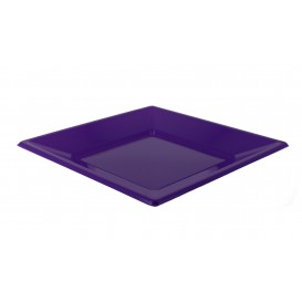 Plato de Plastico Llano Cuadrado Lila 170mm (5 Uds)