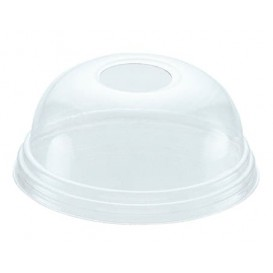 Tapa Cúpula con Agujero PET Cristal Ø8,1cm (100 Uds)