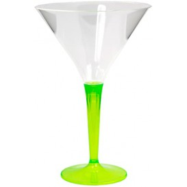 Copa de Plastico Cocktail Pie Verde 100 ml (6 Uds)