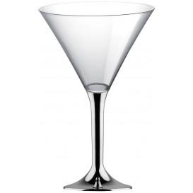 Copa Plastico Cocktail Pie Plata Cromado 185ml 2P (20 Uds)