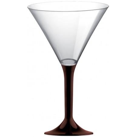 Copa de Plastico Cocktail con Pie Marron 185ml (20 Uds)