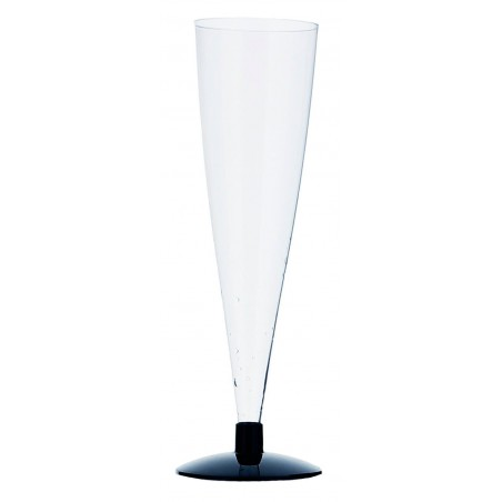 Copa de Plastico para Cava Pie Negro 150ml 2p (6 Unidades)