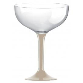 Copa de Plastico Champan con Pie Beige 120ml (20 Uds)