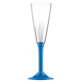 Copa Plastico Cava Pie Azul Transp. 160ml 2P (20 Uds)