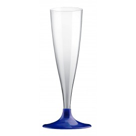 Copa Plastico Cava Pie Azul Perlado 140ml 2P (20 Uds)