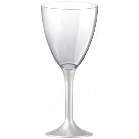 Copa Plastico Vino Pie Blanco Perlado 180ml 2P (20 Uds)