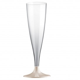 Copa de Plastico Cava con Pie Beige 140ml (20 Uds)