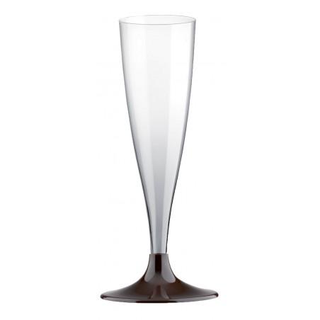 Copa de Plastico Cava con Pie Marron 140ml (200 Uds)