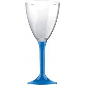 Copa Plastico Vino Pie Azul Transp. 180ml 2P (200 Uds)