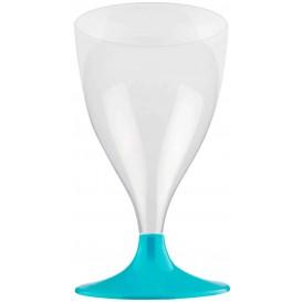Copa Plastico Vino Pie Turquesa 200ml 2P (20 Uds)