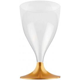 Copa Plastico Vino Pie Oro 200ml 2P (20 Uds)