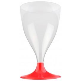 Copa Plastico Vino Pie Rojo 200ml 2P (400 Uds)