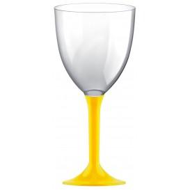Copa Plastico Vino Pie Amarillo 300ml 2P (20 Uds)