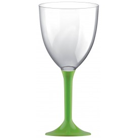 Copa Plastico Vino Pie Verde Lima 300ml 2P (20 Uds)