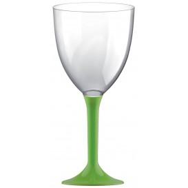 Copa Plastico Vino Pie Verde Lima 300ml 2P (200 Uds)