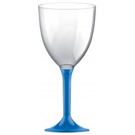 Copa Plastico Vino Pie Azul Transp. 300ml 2P (200 Uds)