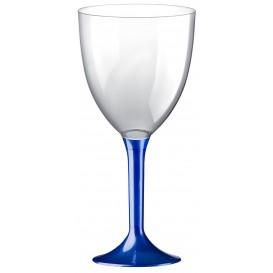 Copa Plastico Vino Pie Azul Perlado 300ml 2P (20 Uds)
